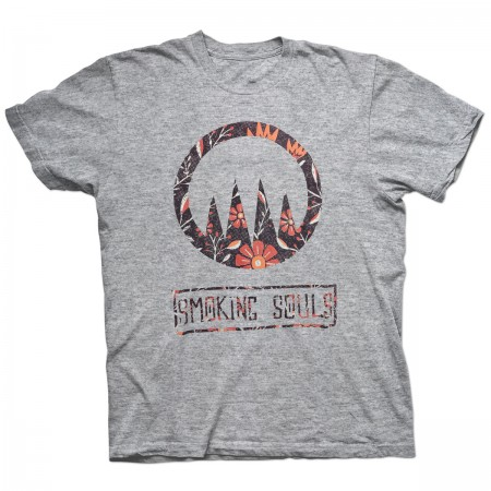 "Samarreta SMOKING SOULS ""Logo flors"" gris"